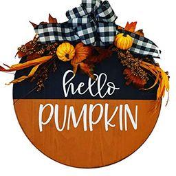 Hello Pumpkin - Wooden - Fall Autumn Door Sign Wreath - Housewarming Gift   Amazon (US)