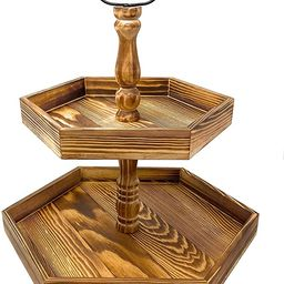Tiered Serving Tray Wood Stand for Farmhouse Rustic Decor, Kitchen Counter, Cupcake Display, Tea ... | Amazon (US)