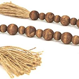 GENMOUS & CO. Wood Bead Garland with Tassels Farmhouse Decorative Wooden Beads Garland Decor Pray... | Amazon (US)