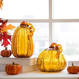 glitzhome Hand Blown Amber Crackle Glass Pumpkin Thanksgiving Decorations for Fall & Halloween Ho...   Amazon (US)