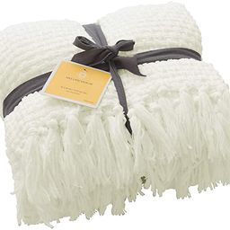 Super Soft Throw Blanket Woven Plaid Pattern, Decorative Throw with Tassels, 50x60, Antique White | Amazon (US)