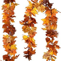 DearHouse 2 Pack Fall Garland Maple Leaf, Hanging Vine Garland 6 Color Artificial Autumn Foliage ...   Amazon (US)