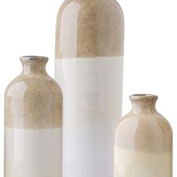 TERESA'S COLLECTIONS Ceramic Rustic Vase for Home Decor, Set of 3 Glazed Brown and White Decorati... | Amazon (US)