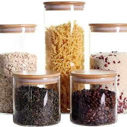 Stackable Kitchen Canisters Set, Pack of 5 Clear Glass Food Storage Jars Containers with Airtight... | Amazon (US)