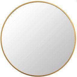 FANYUSHOW 20'' Gold Circle Mirror for Wall Mounted, Modern Brushed Brass Metal Frame Circular Mir... | Amazon (US)