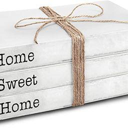 TenXVI Designs Decorative White Books, Set of 3 - Home Sweet Home Stacked Books - Rustic Farmhous... | Amazon (US)