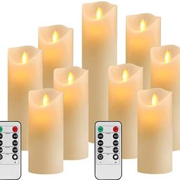 OSHINE Flameless Candles Set of 9 Ivory Dripless Real Wax Pillars Include Realistic Moving Wick L... | Amazon (US)