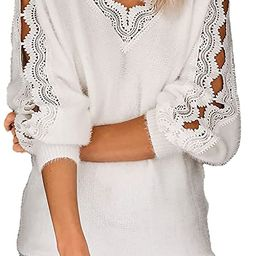 Dokotoo Womens Crewneck Crochet Lace Long Sleeve Hollow Out Cable Knit Pullover Sweaters Tops | Amazon (US)