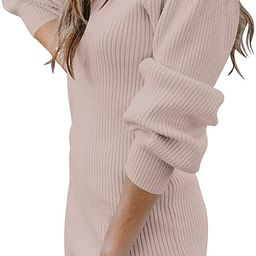 Caracilia Women Turtleneck Long Sleeve Knit Pullover Sweater Bodycon Mini Dress | Amazon (US)