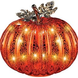 Collections Etc Festive Lighted Glass Pumpkins Indoor Fall Tabletop Décor, Large   Amazon (US)
