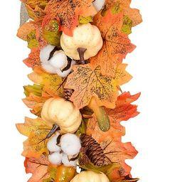 27Inch Artificial Fall Maple Swag, Decorative Swag with Autumn Leave,Pumpkin, Pine Cone,Cotton Ba...   Amazon (US)