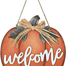 Halloween Pumpkin Welcome Sign Wood Pumpkin Welcome Sign Decorative Pumpkin Wooden Sign Wood Pump...   Amazon (US)