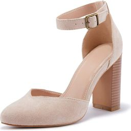VETASTE Womens Chunky High Heel Pointed Toe Pumps Casual Ankle Strap Closed Toe Block Shoes | Amazon (US)