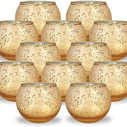 Just Artifacts 2-Inch Round Speckled Mercury Glass Votive Candle Holders (Gold, Set of 12) | Amazon (US)