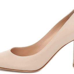 Divanne High Heels, Women's Suede Pumps Pointy Toe Block Heels Slip-On Dress Office Shoes | Amazon (US)