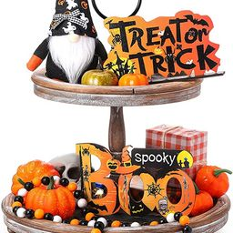 Skylety 4 Pieces Halloween Tiered Tray Decoration Set Including Gnomes Plush Doll Wood Sign Decor... | Amazon (US)