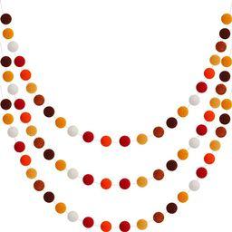 WILLBOND Wool Felt Ball Garland Colorful Pom Pom Garland 6.5 Feet Long 24 Ball Garland for Mardi ... | Amazon (US)