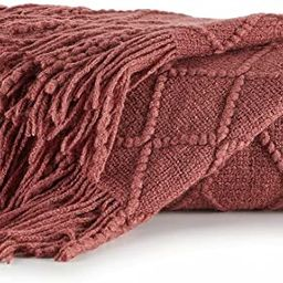 """Bourina Throw Blanket Textured Solid Soft Sofa Throw Couch Cover Knitted Decorative Blanket, 50""""x... 