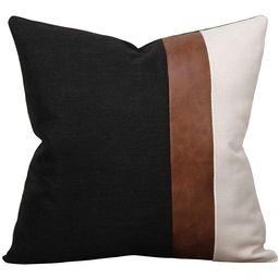 Faux Leather and Linen Throw Pillow Cover 18x18 Inch Black and White Modern Decorative Accent Cus... | Walmart (US)