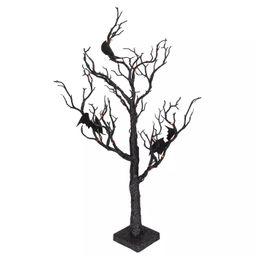 "Northlight 26.5"" Black Glittered B/O LED Tabletop Halloween Tree with Bats - Orange Lights | Target"