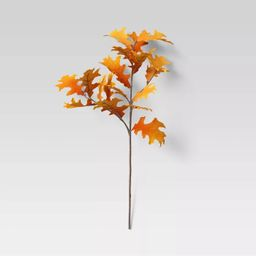 "28"" Artificial Fall Oak Leaves Stem Orange - Threshold™   Target"
