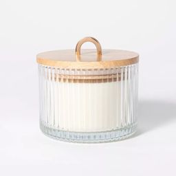 13oz Wood Lidded Ribbed Glass 3-Wick Masala Rose Candle - Threshold™ designed with Studio McGee | Target