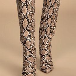 Katari Tan Snake Pointed-Toe Knee High Boots | Lulus (US)