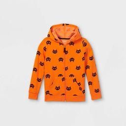 Girls' Halloween Printed Cats Zip-Up Hoodie - Cat & Jack™ Orange   Target