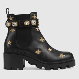 Embroidered leather ankle boot with belt | Gucci (US)
