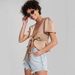 Women's Cropped Short Sleeve Tie-Front Flutter Top - Wild Fable™   Target
