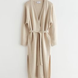 Long Belted Knit Cardigan - White   & Other Stories