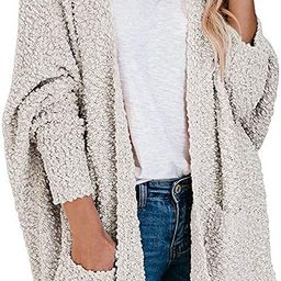 ZESICA Women's Popcorn Long Sleeve Open Front Chunky Knit Oversized Cardigan Sweater Coat with Pocke | Amazon (US)