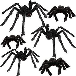 """6 Halloween Realistic Hairy Spiders Props for Indoor and Outside Decoration 36"""" 30"""" 24"""" 18... 