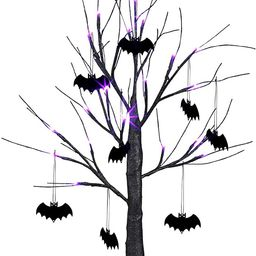 Vanthylit 2FT 24LED Black Spooky Tree Glittered with Purple Lights and Bat Decorations Battery Po...   Amazon (US)