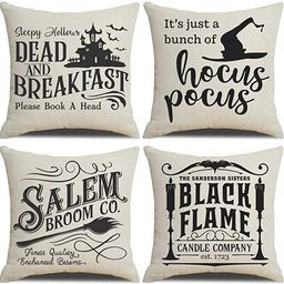 PSDWETS Fall Decor Throw Pillow Covers Set of 4 with Halloween Decorations Quotes Cotton Linen Ho... | Amazon (US)