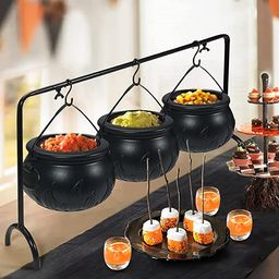 Halloween Decor - Halloween Party Decorations - Set of 3 Witches Cauldron Serving Bowls on Rack -...   Amazon (US)
