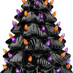 Best Choice Products Pre-Lit 15in Ceramic Tabletop Halloween Tree Holiday Decoration w/Orange & P... | Amazon (US)