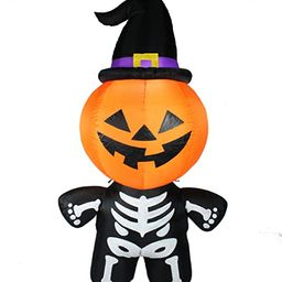 Joiedomi Halloween 5 FT Inflatable Pumpkin Skeleton with a Witch Hat with Build-in LEDs Blow Up I...   Amazon (US)