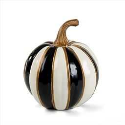 MacKenzie-Childs Black-and-White Stripe Small Decorative Pumpkin for Fall Decor, Autumn Decoratio... | Amazon (US)