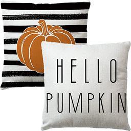 2Pack Hello Pumpkin Throw Pillow Covers Watercolor Stripes Pumpkin Cushion Cover Farmhouse Autumn...   Amazon (US)