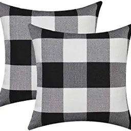 Burlap Farmhouse Decor Buffalo Checkers Plaid Cotton Linen Decorative Throw Pillow Cover Rustic C... | Amazon (US)