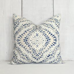 Navy and Tan Pillow Cover. Beige, Blue and Ivory Medallion Throw Pillow Cover. Boho Style Decor. | Etsy (US)