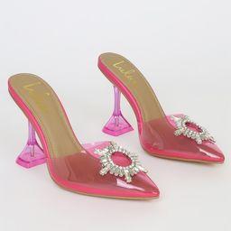 Midnight-L Pink Rhinestone Pointed-Toe Heels | Lulus (US)