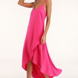 Sweet Surprise Bright Pink High-Low Maxi Dress | Lulus (US)