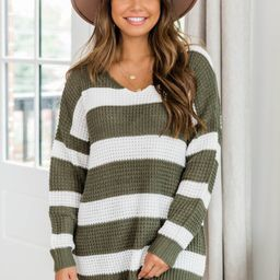 Wishing To See You Olive Striped Sweater | The Pink Lily Boutique