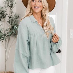 My Only Dedication Sage Balloon Sleeve Blouse | The Pink Lily Boutique
