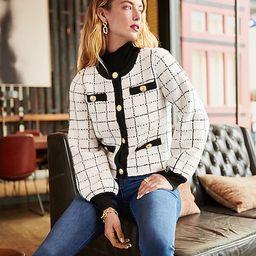 Plaid Novelty Button Sweater Jacket   Express