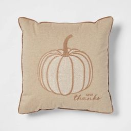 Embroidered Pumpkin Square Throw Pillow Neutral - Threshold™   Target