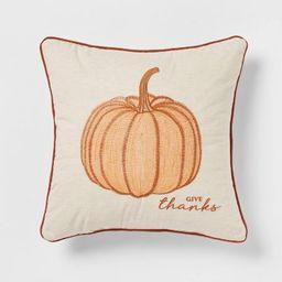 Embroidered Pumpkin Square Throw Pillow Cream/Orange - Threshold™   Target