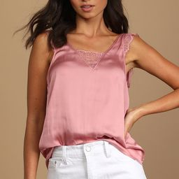 Take You Out Rose Pink Satin Lace Button-Back Tank Top | Lulus (US)